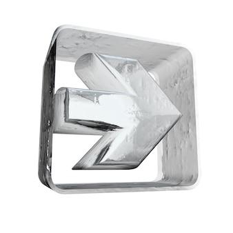 Rendering 3d di un'icona a forma di freccia bianca con una texture ghiacciata
