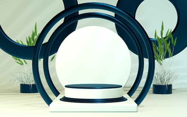 3d che rende il podio bianco e blu mostra lo sfondo dello spazio vuoto per la presentazione del prodotto