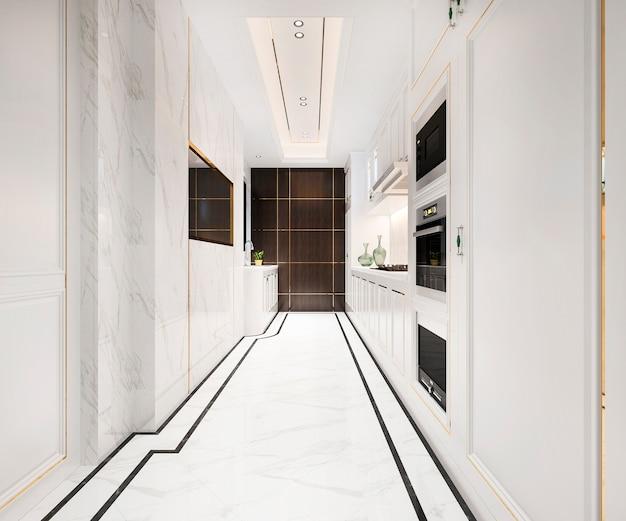 3d che rende cucina classica bianca con il disegno di lusso