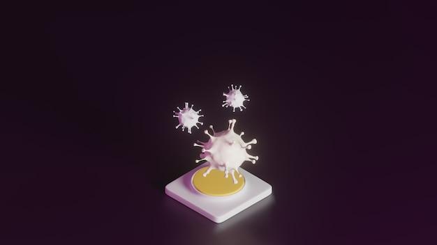 Il rendering 3d del virus corona bianca su piedistallo su sfondo viola scuro, il concetto minimo astratto delle forme di epidemia 2019-ncov come sars e mers può essere letale, minimalista di lusso