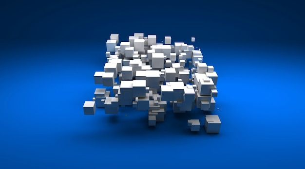Rendering 3d di particelle cubiche bianche contro una superficie blu