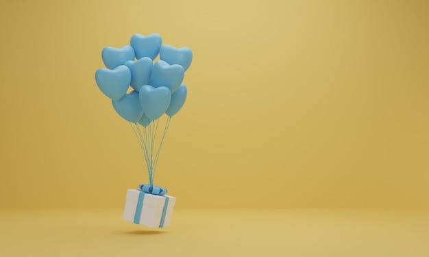 Rendering 3d. confezione regalo bianca con nastro azzurro e palloncino cuore su sfondo giallo. concetto minimo.