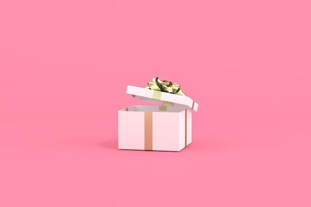 Rendering 3d di una confezione regalo bianca con nastro dorato su sfondo rosa.
