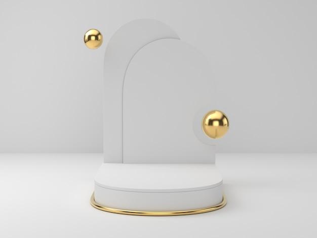 Rappresentazione 3d del podio del piedistallo dell'oro bianco su fondo chiaramente, spazio in bianco minimo astratto del podio per il prodotto cosmetico di bellezza,