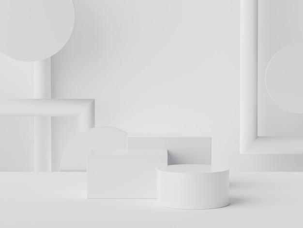 Il rendering 3d di marmo bianco mostra la scena del podio per il mock up e la presentazione dei prodotti con uno sfondo minimo.