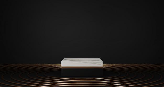 Rendering 3d di marmo bianco e piedistallo dorato isolato su sfondo nero, anello d'oro, cornice rotonda sul pavimento, astratto concetto minimo, spazio vuoto, minimalista di lusso