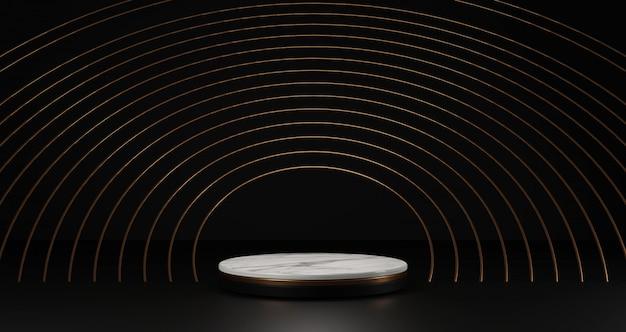 Rendering 3d di marmo bianco e piedistallo dorato isolato su sfondo nero, cornice rotonda anelli d'oro, astratto concetto minimo, spazio vuoto, minimalista di lusso