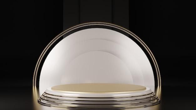 Rendering 3d di piedistallo in marmo bianco isolato su sfondo nero, design pulito, mockup minimalista di lusso