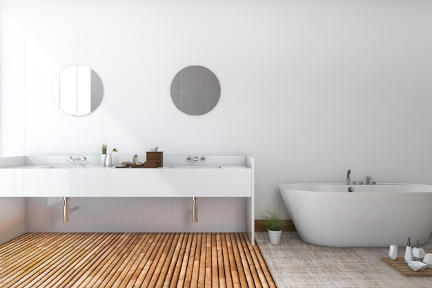 3d che rende toilette e bagno minimi bianchi con il pavimento di legno
