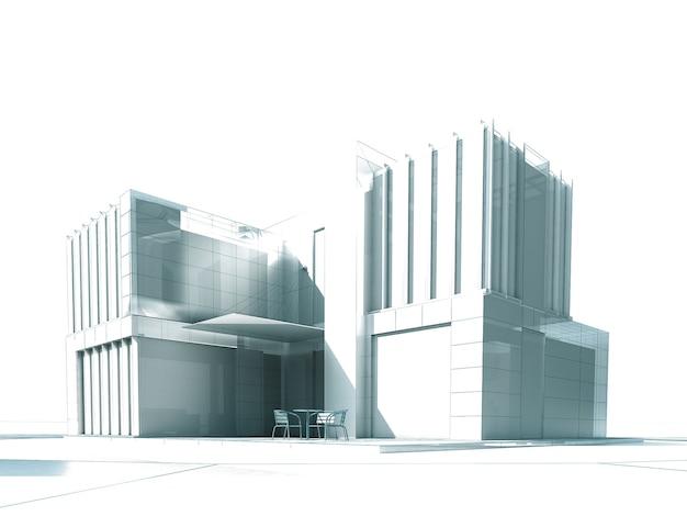 Rendering 3d di un edificio moderno bianco con mobili da esterno
