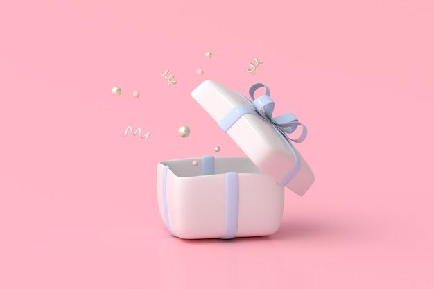 Rendering 3d di scatola regalo bianca aperta con nastro blu su sfondo rosa.