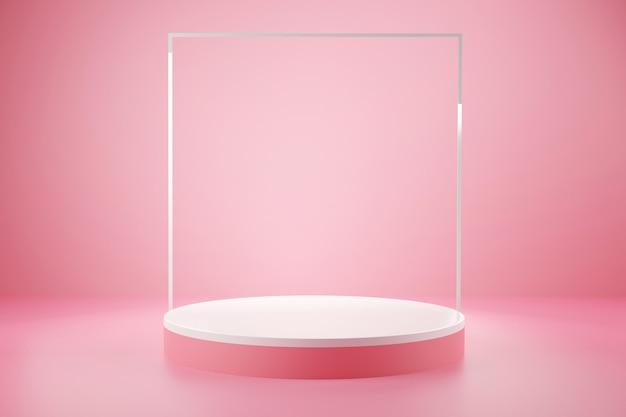 Rendering 3d del podio cercle bianco e rosa con sfondo di colore pastello rosa per la pubblicità del prodotto, stile minimal