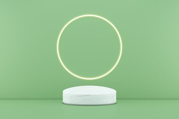 3d rendering podio bianco su sfondo verde e linea di luce circolare