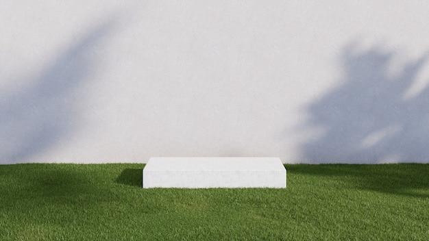 Rappresentazione 3d di un podio bianco e di un campo di erba verde, contro un muro di cemento. per i prodotti: una vetrina su uno stand.