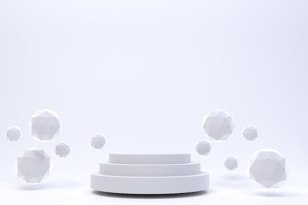 Rappresentazione 3d, fondo bianco astratto minimo del podio bianco per la presentazione cosmetica del prodotto, forma geometrica astratta