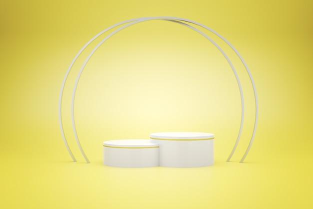 Rendering 3d del podio bianco con giallo per la pubblicità del prodotto, stile minimal