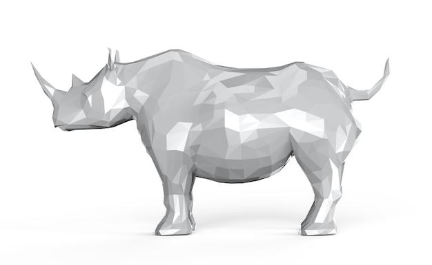 Rinoceronte poligonale bianco della rappresentazione 3d isolato su white