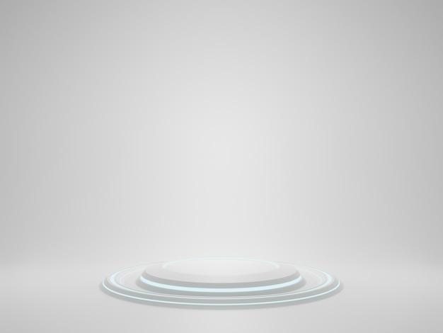 Rendering 3d supporto prodotto white sci fi