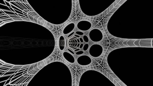 Rendering 3d del tunnel di fantascienza bianco dietro la fantascienza astratta del telaio di filo