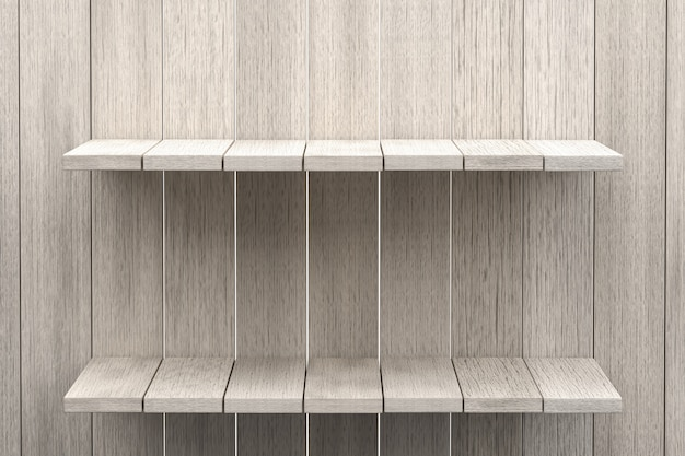 Rappresentazione 3d, fondo di legno della tavola dello scaffale bianco per l'esposizione del prodotto, fondo di legno bianco di struttura