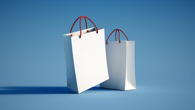 Rendering 3d di una borsa della spesa bianca su una superficie blu