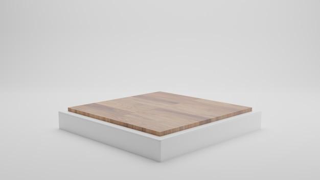 Rendering 3d del quadrato bianco con legno sul podio superiore