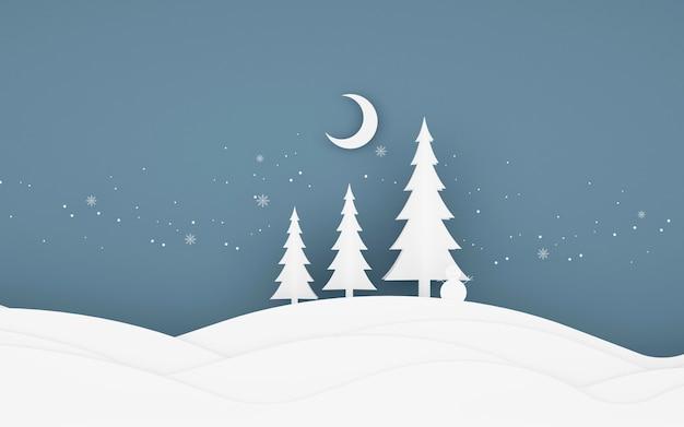 Rendering 3d del paesaggio invernale mock up con alberi e neve.