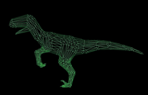Dinosauro poligonale wireframe rendering 3d isolato su nero