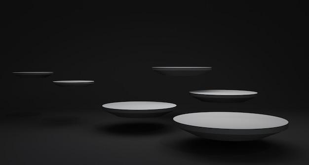 Rendering 3d con cerchio, sfondo astratto nero