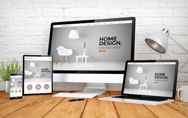 Rendering 3d con multidevices con sito web di interior design