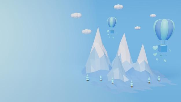 Rendering 3d con montagne di poligono e palloncini di colore blu sfondo astratto il giorno di san valentino concetto