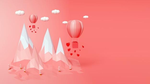 Rendering 3d con montagne di poligono e palloncini colore rosa sfondo astratto il giorno di san valentino concetto
