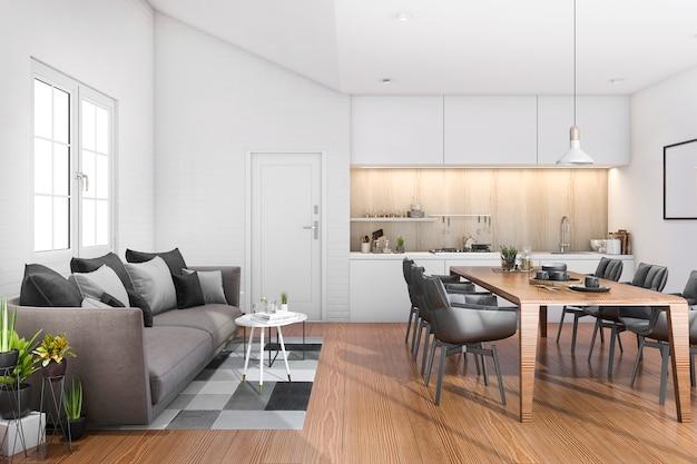 Cucina del sottotetto di legno della rappresentazione 3d con la barra e sofà vicino alla porta