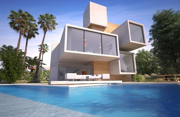 Rendering 3d di una villa di lusso in legno e pietra con piscina e giardino esotico