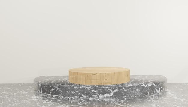Rendering 3d del modello di podio in legno su sfondo di marmo nero illustrazione foto premium