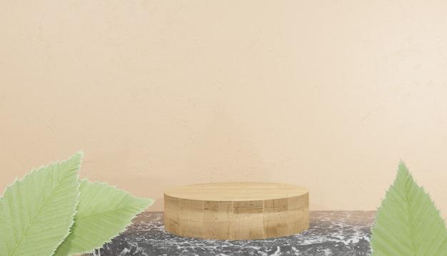 Rendering 3d del modello di podio in legno con foglie su sfondo marmo nero illustrazione premium