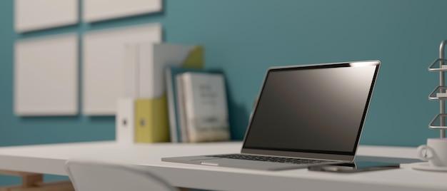 Area di lavoro di rendering 3d con laptop libri forniture per ufficio e copia spazio nell'illustrazione 3d camera ufficio domestico