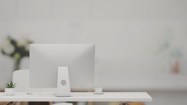 Rendering 3d, tavolo da lavoro con computer, tazza di caffè e vaso per piante nella stanza dell'home office, illustrazione 3d