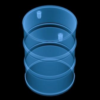 Barile di raggi x di rendering 3d isolato su nero
