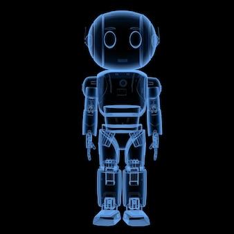 3d rendering a raggi x simpatico robot di intelligenza artificiale con personaggio dei cartoni animati