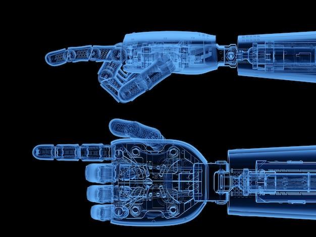 3d rendering mano cyborg a raggi x o mano robotica punto del dito isolato su nero