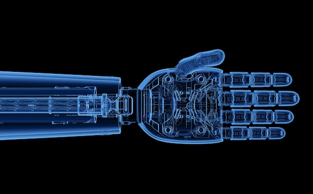 3d rendering mano cyborg a raggi x o mano robotica isolata su nero