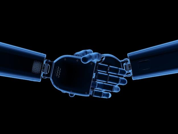 3d che rende la mano del cyborg dei raggi x o la scossa della mano robotica isolata su white