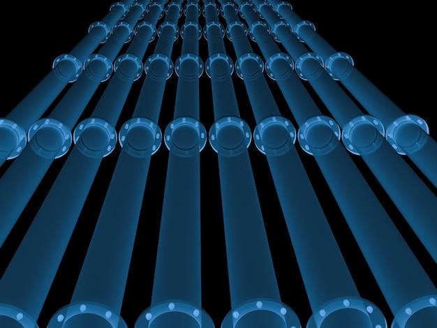 Condutture a raggi x di rendering 3d isolate su nero
