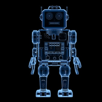 3d rendering robot a raggi x giocattolo di latta su sfondo nero