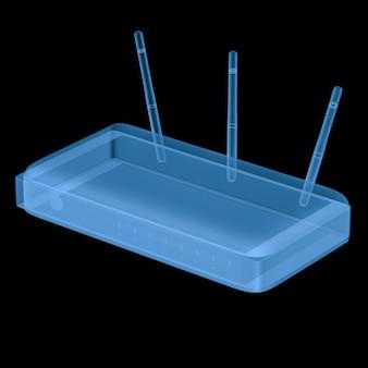 3d rendering router a raggi x isolato su nero