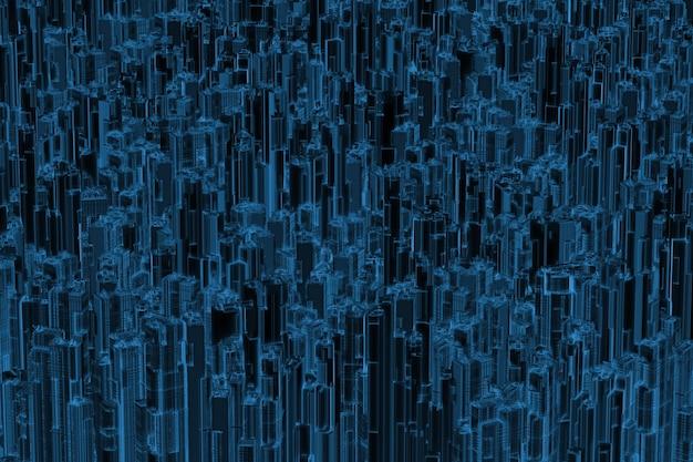 Rendering 3d città urbana a raggi x isolata su nero