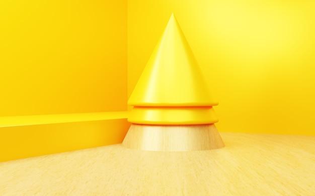 Rendering 3d di sfondo luminoso astratto giallo scena per la pubblicità del display del prodotto di capodanno