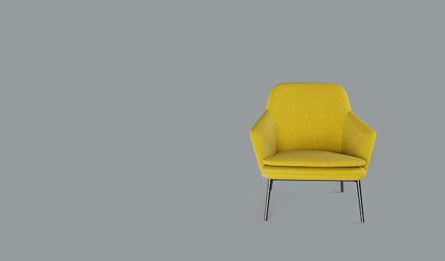 Rendering 3d della poltrona gialla su sfondo grigio.
