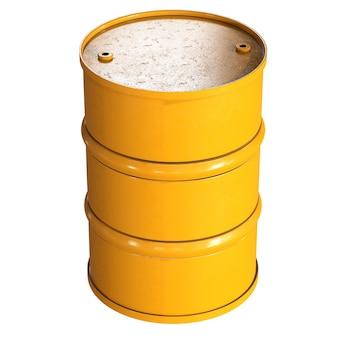 3d rendering barile giallo isolato su bianco